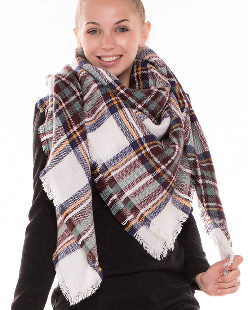 White Hunter Green Tartan Plaid Blanket Scarf