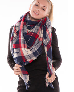 Navy Red Tartan Plaid Blanket Scarf