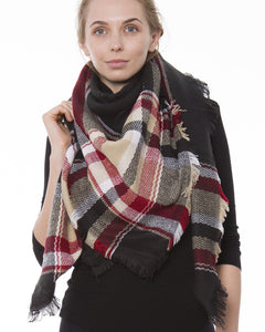 Beige Black Red Tartan Plaid Blanket Scarf