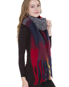 red navy long plaid blanket scarf