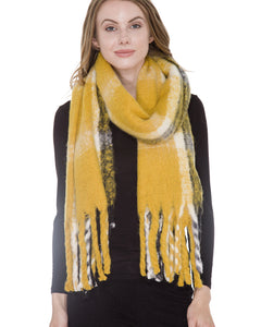 mustard long plaid blanket scarf