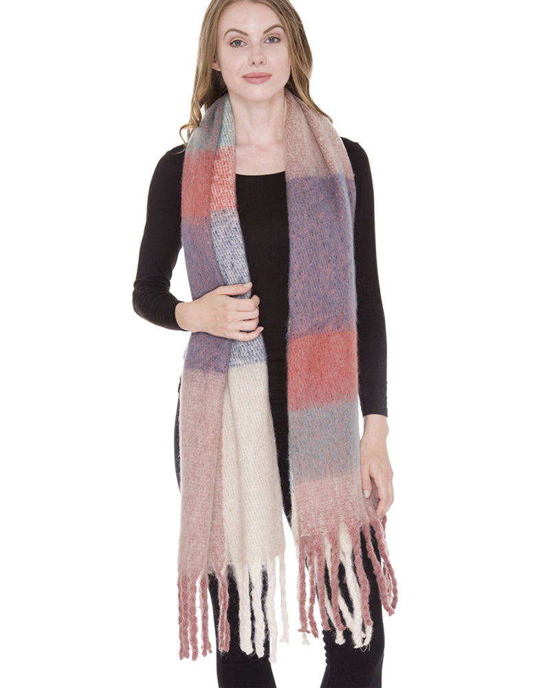 beige pink long plaid blanket scarf