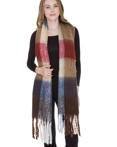 gold red blue long plaid blanket scarf