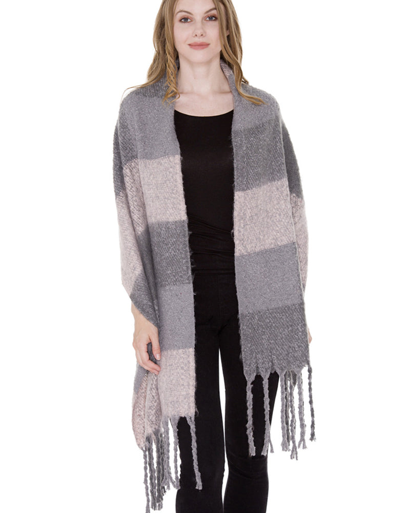 grey long plaid blanket scarf