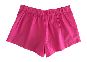 fuchsia floral embroidered shorts