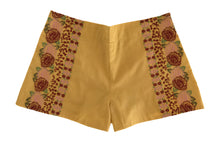 Load image into Gallery viewer, mustard floral embroidered shorts