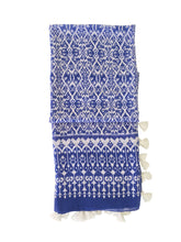 Load image into Gallery viewer, blue moroccan tile print scarf