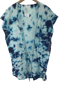 blue tie dye swim coverup