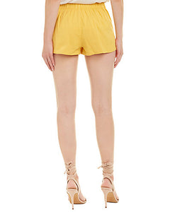 mustard floral embroidered shorts