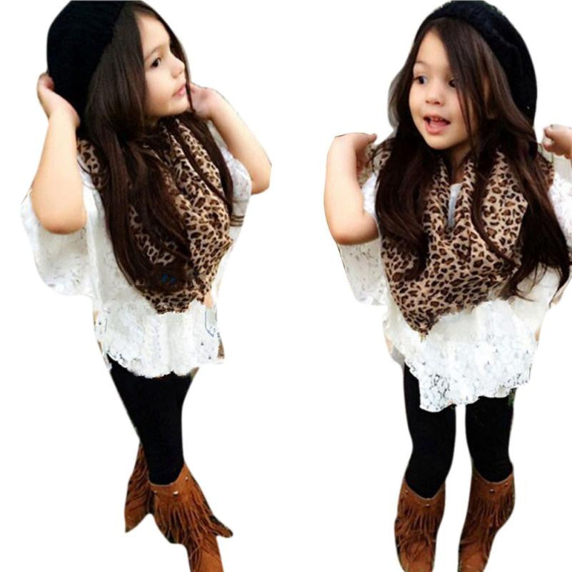 Toddler Girls Vest+ Lace Bat Shirt+Long Pants+Leopard Scarf Clothes Outfits Girl clothing Drop ship
