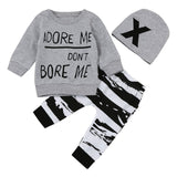 3Pcs/Set Newborn Baby Girl Boy Clothes 2017 Autumn Letter Printing Clothing Set For Baby Long Sleeve Top + Pants+Cap