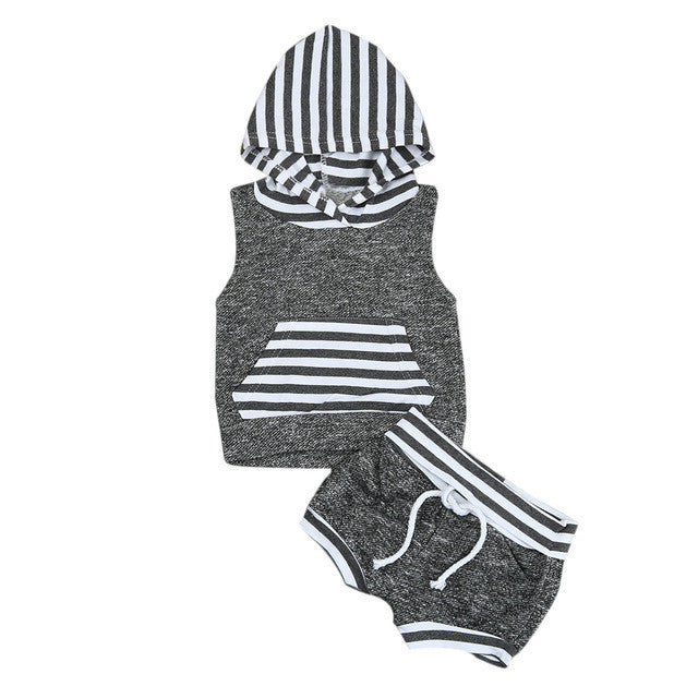 2017 Babies kids Striped Casual Hooded Clothing Set Summer Infant Baby Boy Kid Outfits Clothes Hoodie Vest Tops+Pants 2pcs Set