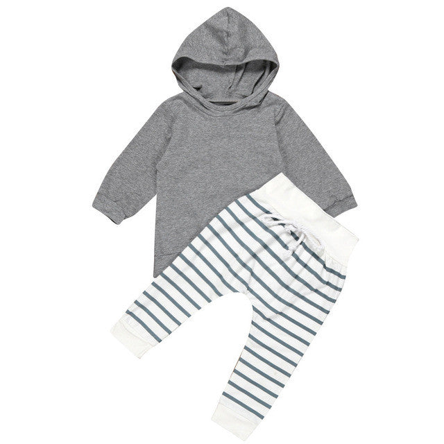 2017 Unisex Kids Clothing Suits Newborn Baby Boy Girl Hooded Coat Tops+Striped Pants Legging Outfits Clothes Set