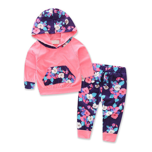 Toddler Infant Baby Girl Autumn Winter Floral Splice Hoodie Tops+Pants Outfits Clothes Set Cute Baby Hooded Casual Clothing Set