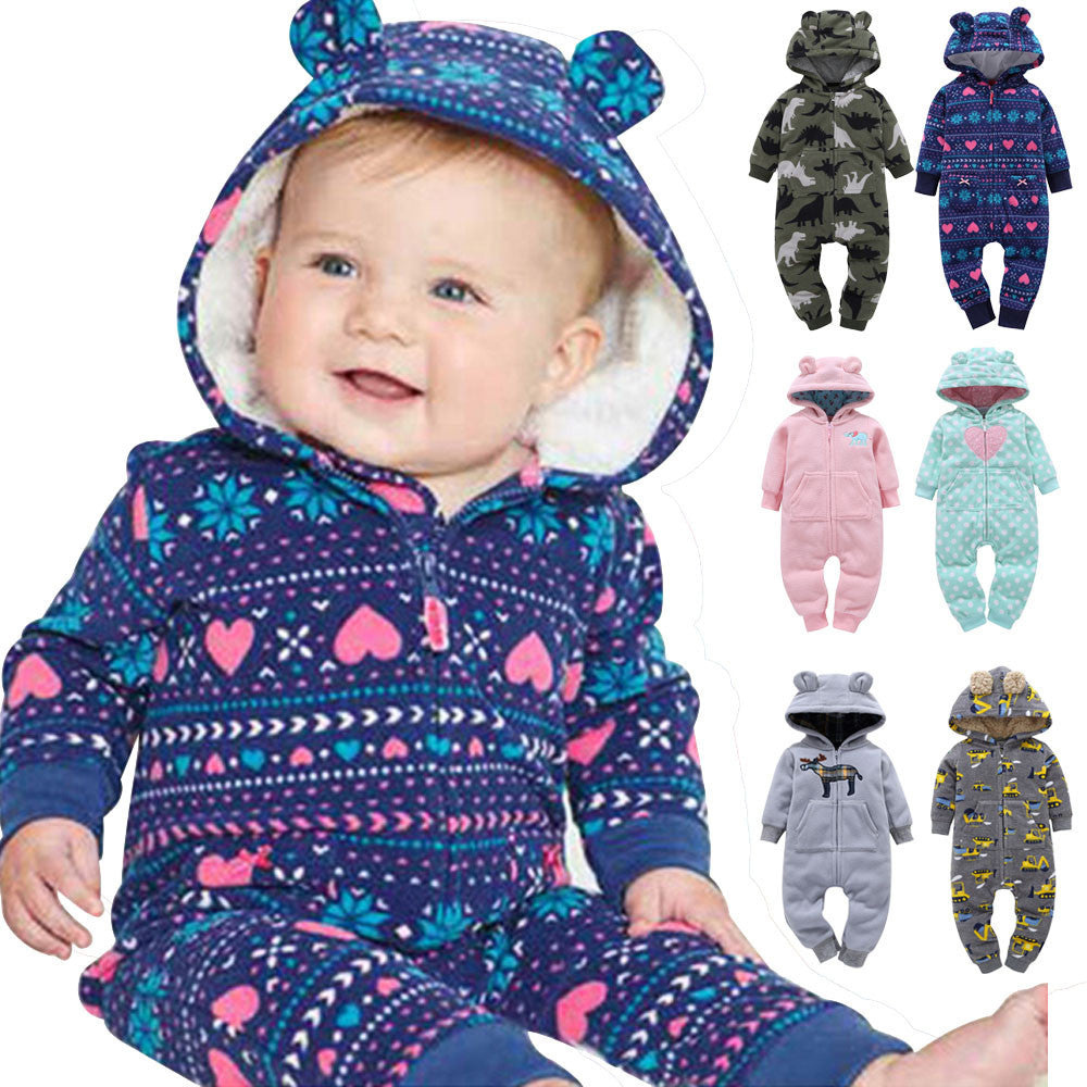 2017 NEW Baby Rompers Printed Winter Thick Warm Baby boy Girl Clothing Long Sleeve Hooded Jumpsuit Kids Newborn Outwear 6 Color