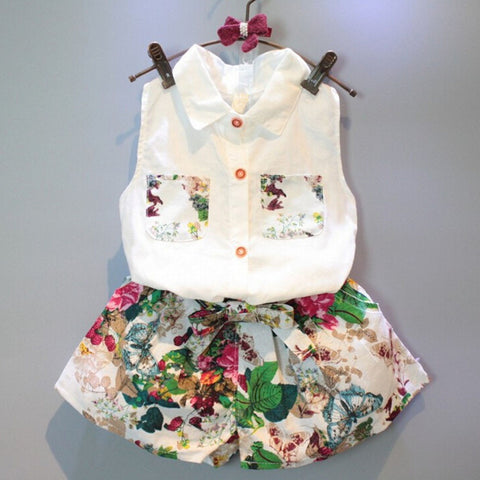 2017 Summer Style Baby Girls Clothing Sets Sleeveless Shirt Blouse+Floral Pants 2pcs/set Kids Cotton Clothes Sets Outfits