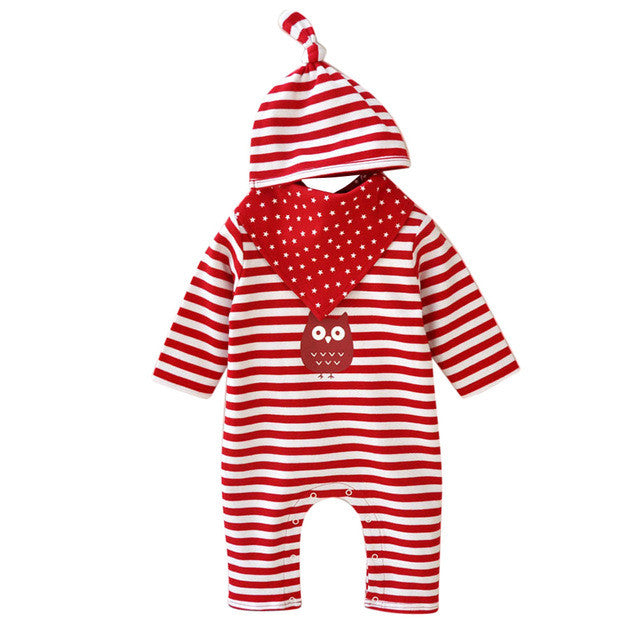 2017 Spring Autumn Baby Cute Rompers Kids Clothing Striped Girls Boys Romper Jumpsuit+Hat+Saliva Towel Set 3pcs