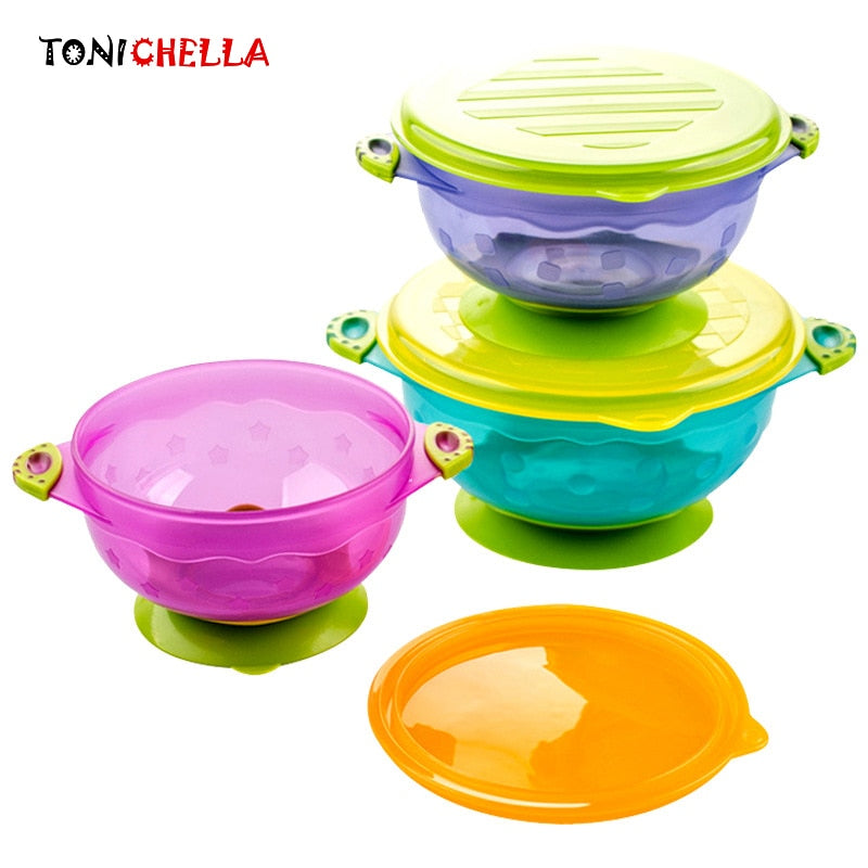 3PCS/LOT Baby Feeding Dishes Kids Suction Cup Bowl Training Safety Tableware Food Container Kids Feeder  T0328
