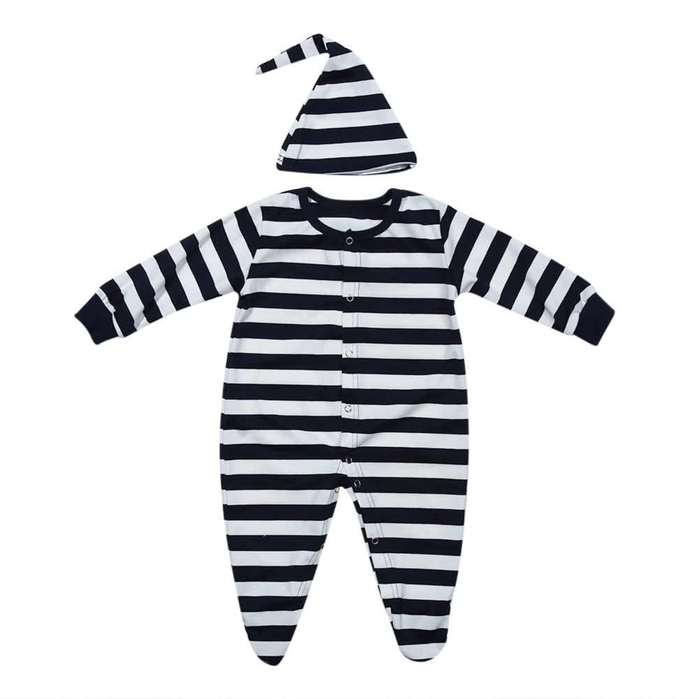 Newborn Baby Autumn 2 Pieces Romper Baby Cotton Leg Apart Anti-kick Footed Sleepwear Night Robe with Hat Fashion Baby Clothing