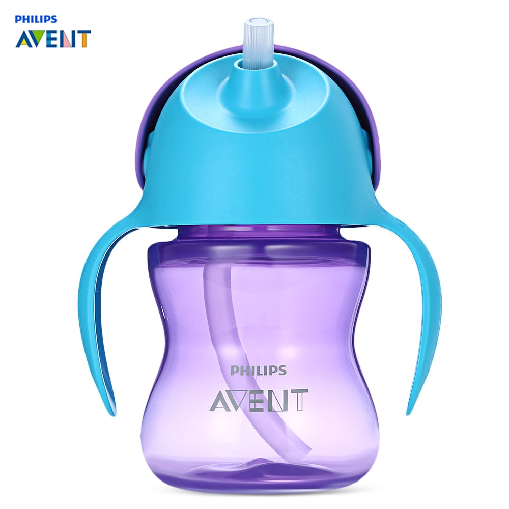 Philips Avent 7oz / 200ml Baby Feeding Bottle BPA Free Leak-Proof Soft Handle Straw Bottle Training Drinking Cup Over 9M Babies