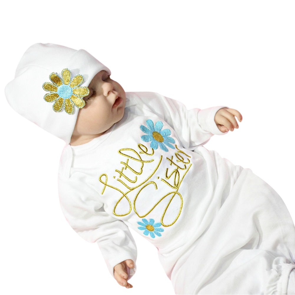 Baby Infant Flower Letters Printed Sleepwear Robes Pure Cotton Long Sleeve Toddler Sleep Wear Robe for 3-9 Month Baby