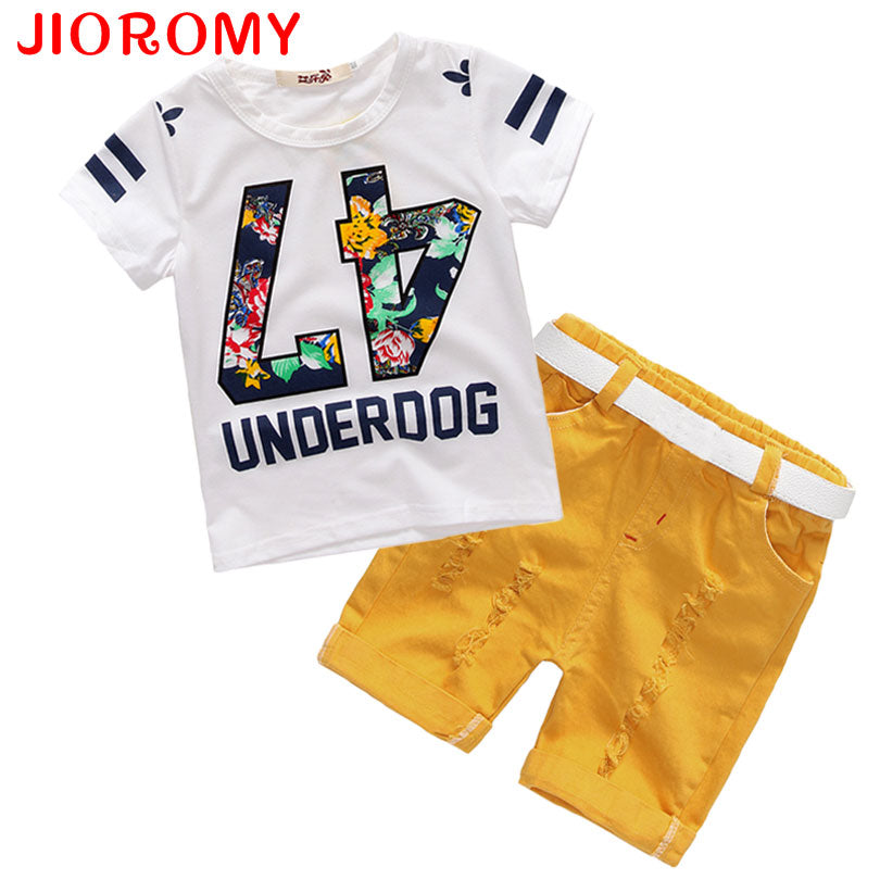 Hot Sale! 2017 Summer Style Children Clothing Sets Tops + Shorts+ Belt =3 Pcs Set Boys Girls T Pants Sports Suit Kids Clothes k1