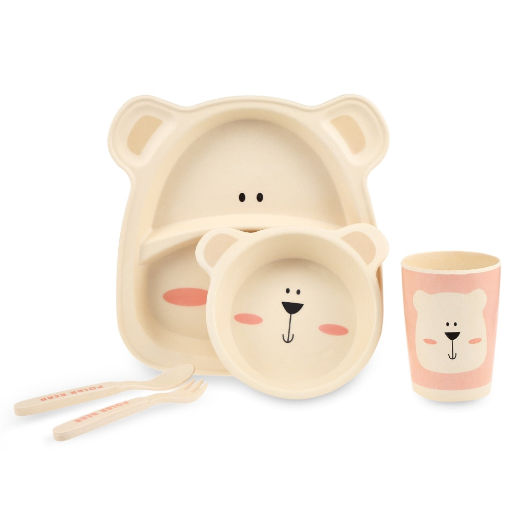 5pcs/Set 100% Bamboo Children Tableware Set Baby Kids Plate Creative Animal Cartoon Pattern Plate Bowl Cup Fork Dinnerware Gift