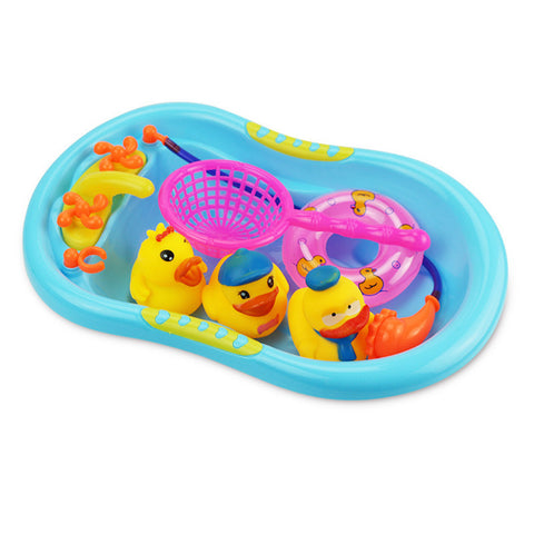 Baby Kids Bath Toys Swimming Ring Play Cartoon Toys Cute Little Yellow Duck Set