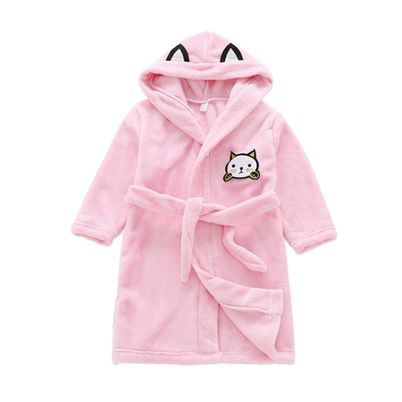 Flannel Autumn/Winter Baby Boy Girl Robes Cartoon Nightgown Children Clothing Cat Cartoon Baby Girl Nightgown Pajamas