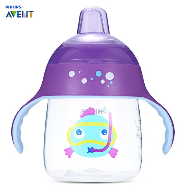 Philips Avent 9oz / 260ml Baby Soft Handle Sipping Bottle Training Drinking Cup Non-Slip Training Handles Kids Bottles Feeding