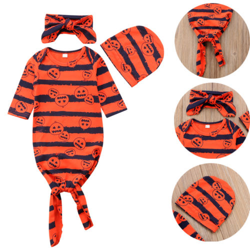 Baby Girl Boy Cotton Sleepwear Robe Outfits Newborn Gown Pajamas Set Night Dress Hat Headbands 3pcs Baby Robes