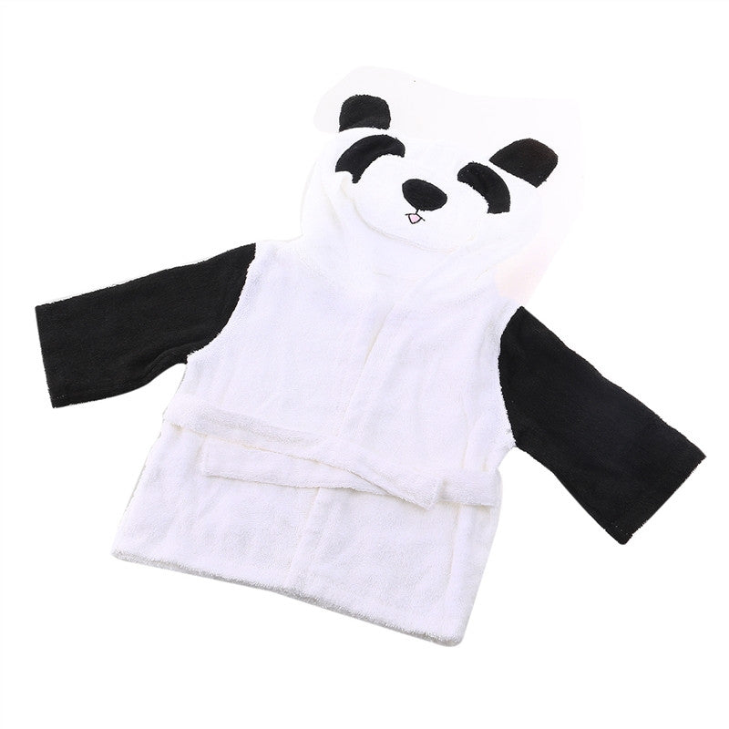 Baby Infant Cartoon Hooded Bathrobe & Towel Terry Spa Robe (Panda Pattern)