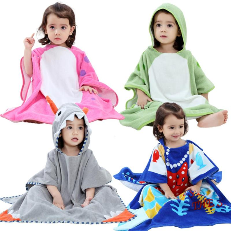 Cute Boys Girls Animal Ears Bathrobe Hooded Bath Robes Beach Towel Infant Baby Hoodies Belt Bathing Robes Sleepwear Pajamas