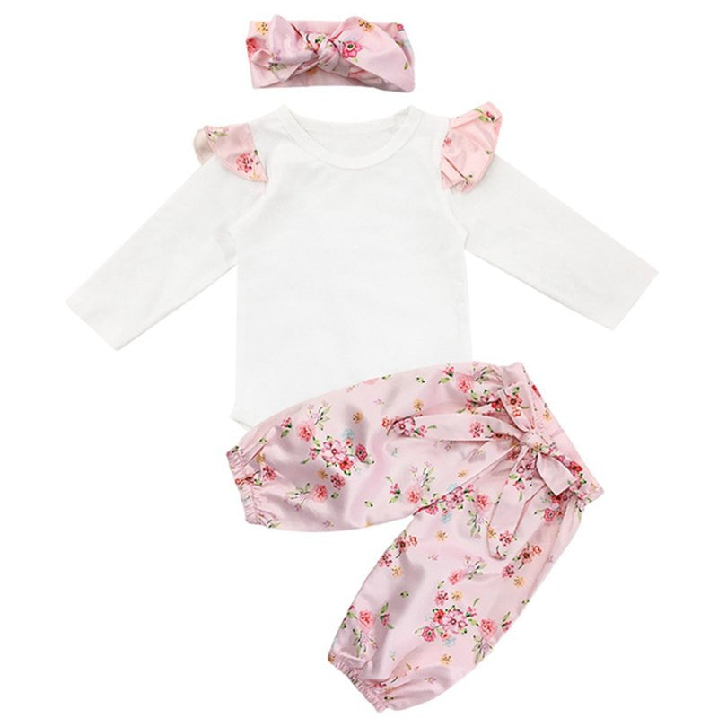 Newborn Baby Girls Sets Pink Floral Outfit Robes + Floral Trousers + Headband Three-Piece Baby Girls Clothes Suits