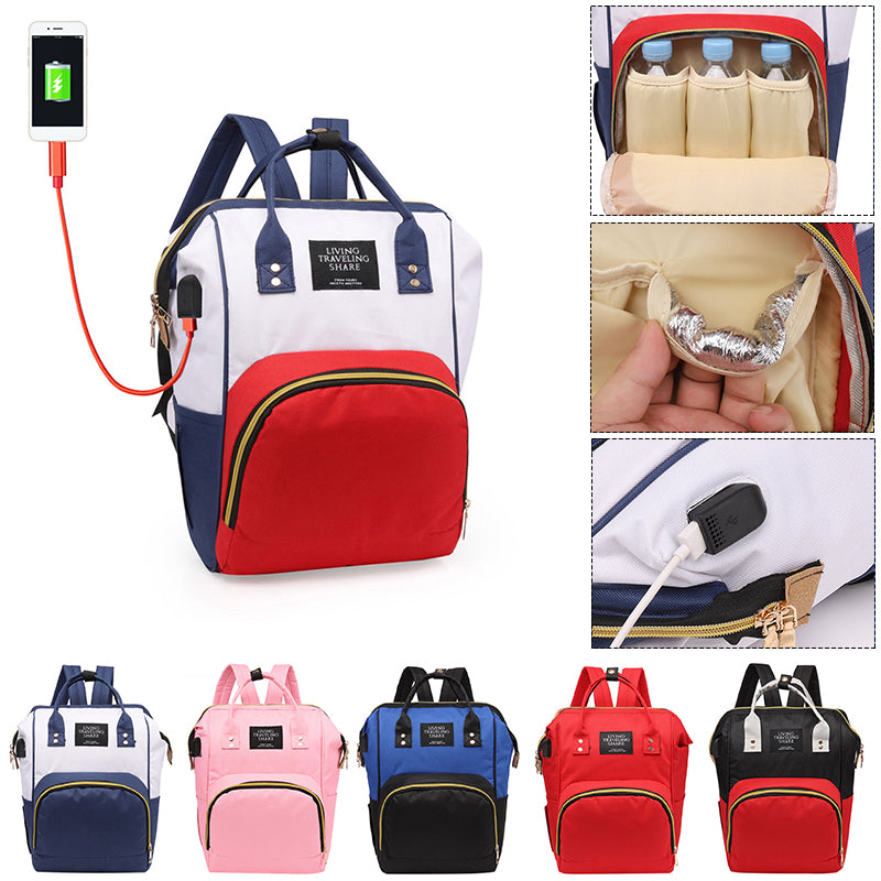 Fashion USB Charging Mummy Diaper Bags Large Capacity Waterproof Travel Maternity Backpacks Baby Nappy Nursing Bag Organizers