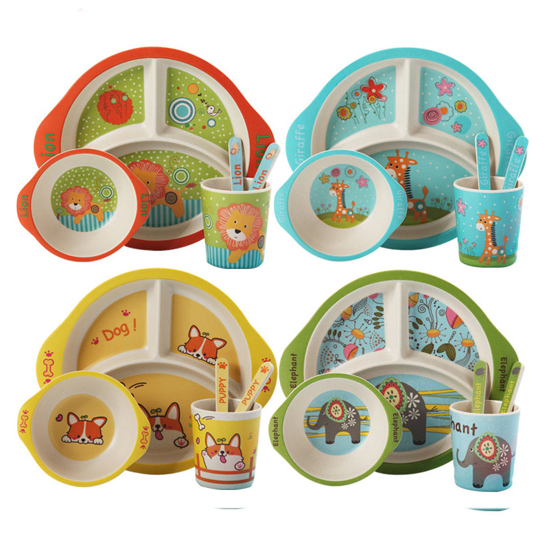 5 Pcs Cartoon Baby Tableware Set Children Bamboo Fiber Trainning Dishes Plate Baby Feeding Bowl With Cup Spoon Fork Dinnerware