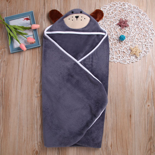 Newborn Baby Hoodie Bath Robe Flannel Cute Animals Ear Towel Blanket Sleepwear Pajama Bbay Boys Girls