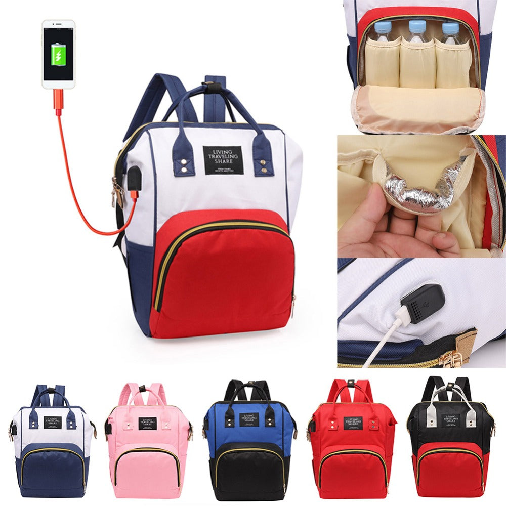 Women Mummy Maternity USB Backpack Large Capacity Baby Nursing HandbagsTravel Maternity Bag Diaper Baby Bag Baby Care