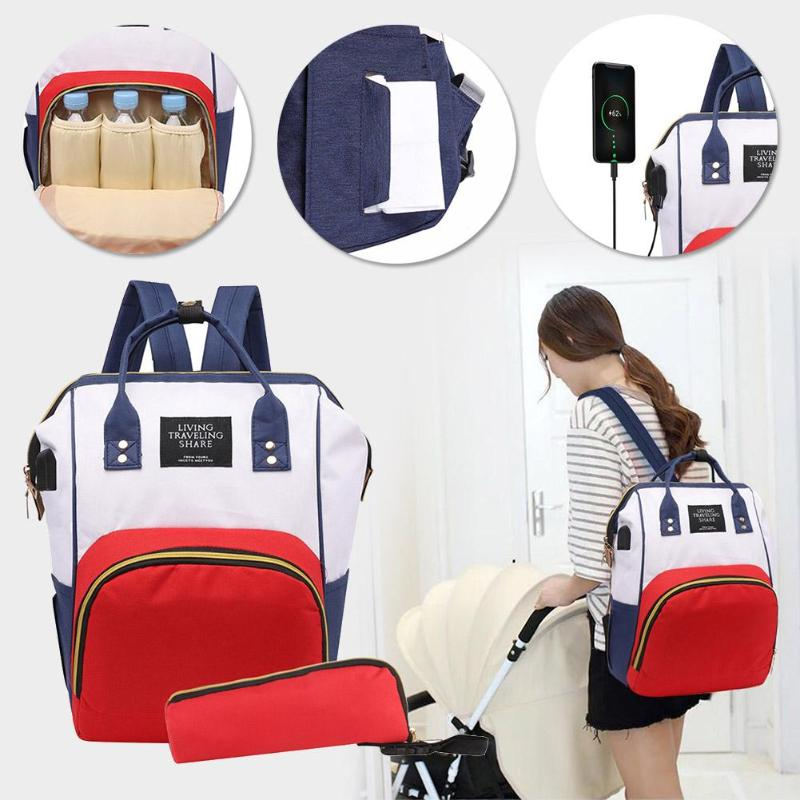 2pcs/set Mummy Maternity USB Backpack Baby Care Nappy Bag Diaper Nursing Clutch Travel Handbag