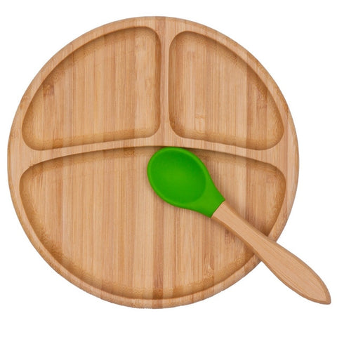 Qshare Bamboo Silicone Suction Cup Baby Plate Feeding Bamboo Children Tableware Dishes Baby Bowl for Kid Plate Infants Feedkid