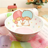 4pcs / set cartoon baby Plate bowl cup Forks Spoon Dinnerware feeding Set, 100% bamboo fiber Baby children tableware set