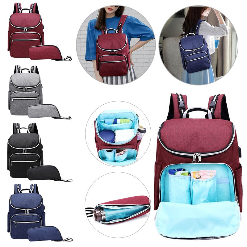 Fashion Mummy Backpacks Nappy Bags Zipper Large Capacity Travel Purse Handbags Maternity Diaper Bags Baby Care Organizer Bag