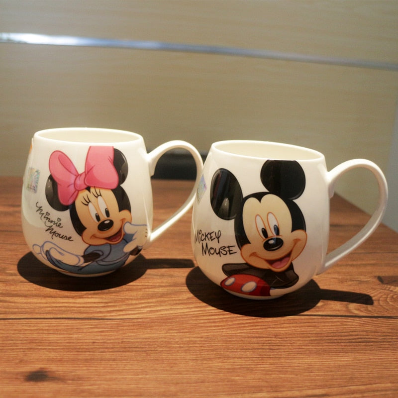 300ML-400ML Children Water Mug Cup Cartoon Drink Water Cups Boys Girls Office Home Mugs Mickey and Minnie Mouse Ceramic Cup