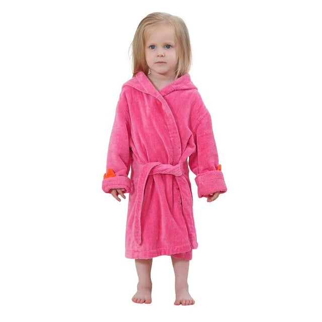 Baby Bathroom Baby Bathrobe Cute Animal Hooded Cotton Kids Warm Fleece Bath Towel Solid Color Sleepwear Boys Girls Pajamas