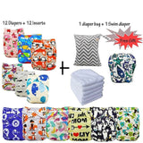 Reusable Nappies Baby Pocket Cloth Diapers Washable Ohbabyka Diaper Cover 12pcs+12pcs Microfiber Inserts+1Free Diaper Bag