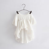 Babyinstar Cute Children's Clothing Girl's Cotton Tuxedo White Dress Formal Dress Fashion Outfits 2018