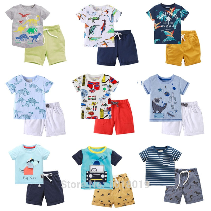 New 2019 Brand 100% Cotton Summer Baby Boys Clothes Set 2pcs Children Clothing Suit Bebe Kids Short Sleeve Clothes Set Baby Boys