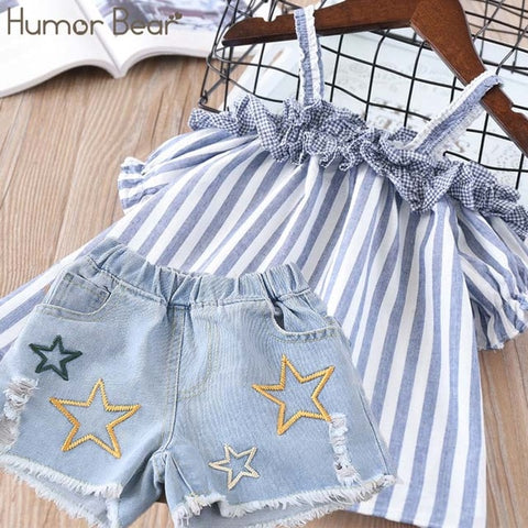 Humor Bear Summer Baby Girls Clothes 2019 Brand New Strap Stripe Pleated lace Girls' Clothing Sets Condole Belt Tops+Pant 2-6Y