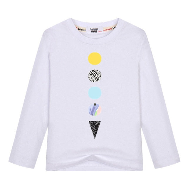 2019 Spring New Kids Long Sleeve Tees Cotton Boys Simple Design Tshirts Girl's Casual Clothing Teen Summer Tops