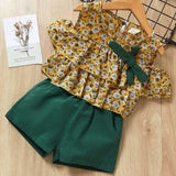 Girls Suits 2019 Summer Style Kids Beautiful Floral Flower Sleeve Children O-neck Clothing Shorts Suit With Belt 2Pcs Clothes